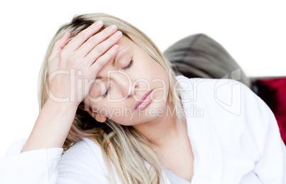 Sick woman have a headache