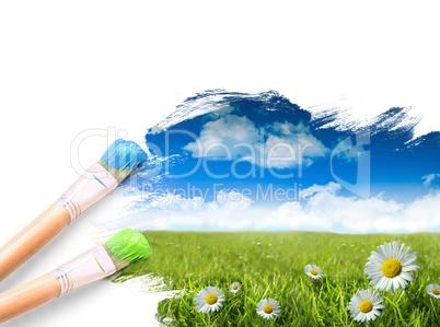 Landschaftsbild mit Pinsel