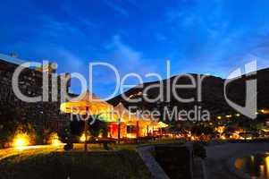 Beach illumination at luxury hotel, Crete, Greece