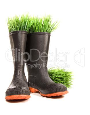 Gummistiefel mit Gras