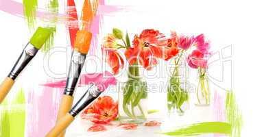 Blumenbild mit Pinsel