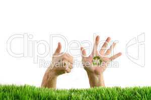 Hände mit Botschaft