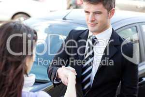Self-assured businessman meeting his colleague
