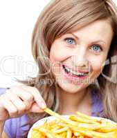 Happy woman holding chips