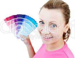 Caucasian woman choising colours