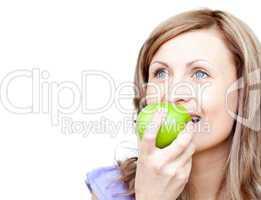 Cute woman holding an apple