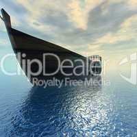 Holzboot im Meer