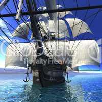 Altes Segelschiff auf dem Meer