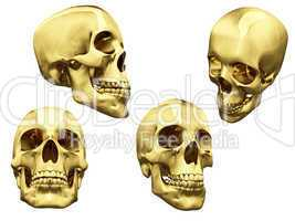 Collage of isolated gold skulls