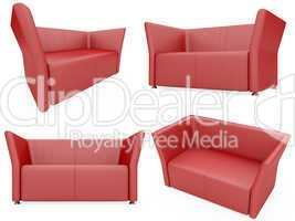 Collection of isolated sofas