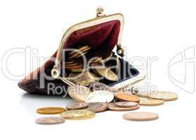 Purse and coins isolated