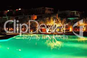 Swimming pool illumination at luxury hotel, Crete, Greece