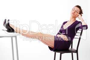 Youth woman sitting on chair and thinking.