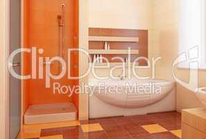 orange bahtroom interior