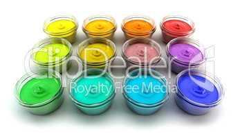 cans with colour paints