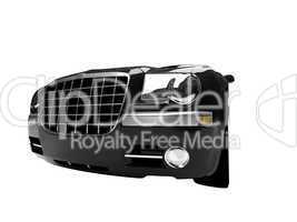 isolated black car front view 02