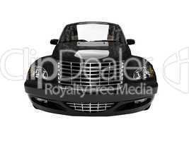 isolated black american car front view 01