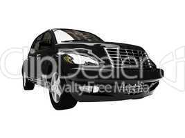 isolated black american car front view 04
