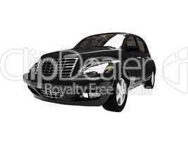 isolated black american car front view 06