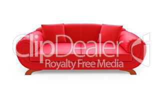 Red divan over white