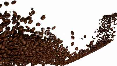 Coffee beans flow with slow motion