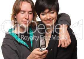 Diverse Couple Using Cell Phone