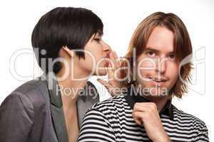 Attractive Diverse Couple Whispering Secrets