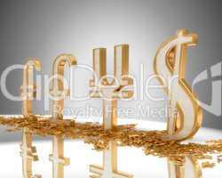 Golden Dollar, pound, euro and yen signs