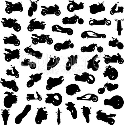 Silhouette of motorcycles