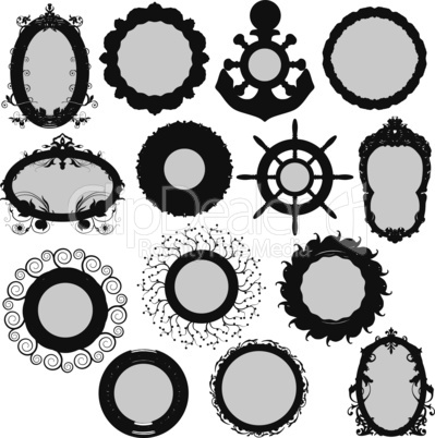 Vectors silhouette collection of circle frames
