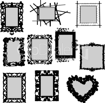 Vectors silhouette collection of special frames
