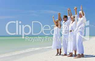 Two Couples Generations of Family Celebrating on Tropical Beach