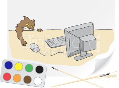 Drawing cat and computer