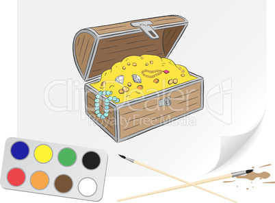 Drawing chest of treasures