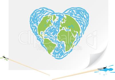 Drawing green earth blue heart