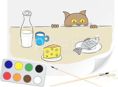 Drawing hungry cat