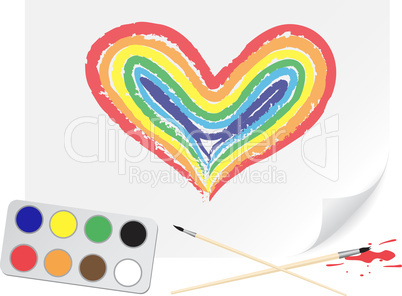Drawing rainbow heart