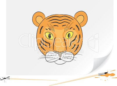 Drawing small tiger
