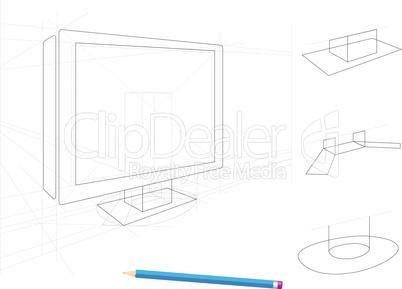 Skizze eines Fernsehers