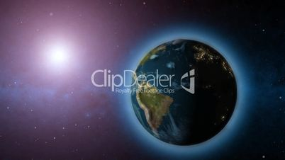 Rotating Earth and sun animated background