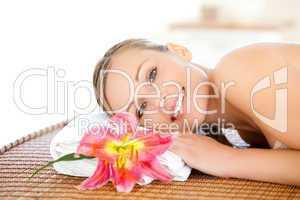 Portrait of a beautiful woman having a massage