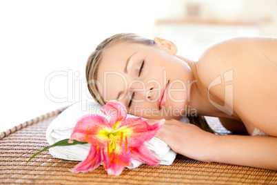 Portrait of a cute woman having a massage