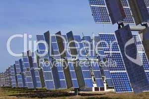 A Field of Green Energy Photovoltaic Solar Panels