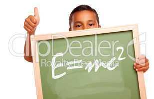 Proud Hispanic Boy Holding Chalkboard with Theory of Relativity
