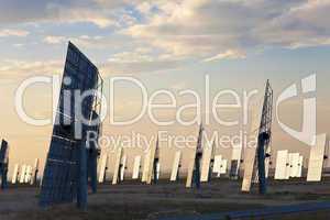 Green Energy Solar Mirror Panels at Sunset or Sunrise