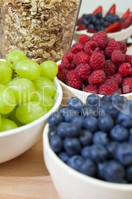 Healthy Breakfast Blueberries, Raspberries, Strawberries, Grapes