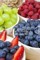 Bowls of Healthy Breakfast Blueberries Raspberries Strawberries