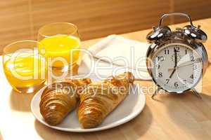 Healthy Continental Breakfast Croissant, Orange Juice & Alarm Cl