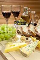 Mediterranean Diet of Cheese, Wine, Grapes, Olives, Bread Balsma