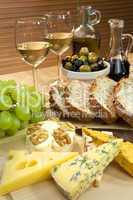 Mediterranean Diet of Cheese, Wine, Grapes, Olives, Bread Balsma
